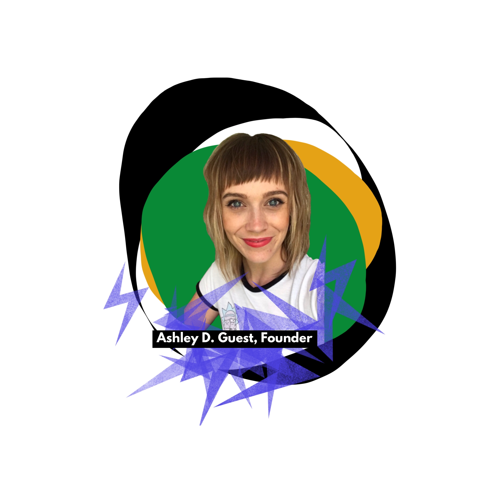 female who is the founder of Free Art Birmingham Alabama with green black white and yellow colors behind her; name Ashley Guest