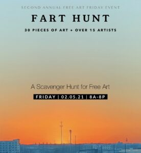 Sunset of Birmingham Alabama with text about FART HUNT Event Feb. 5th 8a-8p 30 pieces of art over 15 artists; A scavenger hunt for Free Art