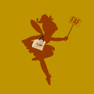 Fairy digital graphic of deep yellow and burnt orange color carrying a wand and bag on her shoulder
